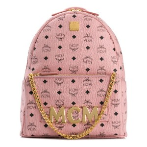 MCM logo plaque backpack - ピンク