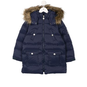 Miki House zipped padded coat - ブルー