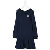 Ralph Lauren Kids embroidered heart logo dress - ブルー