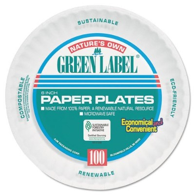 Ajm PP6AJKWH Round Uncoated Paper Plates, White - 6 in.