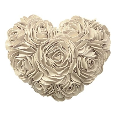 (Creamy White) - JW 3D Rose Flowers Accent Pillows Decorative Wool Heart Shaped Handmade Cushions...
