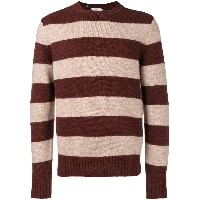 Closed striped knit sweater - レッド
