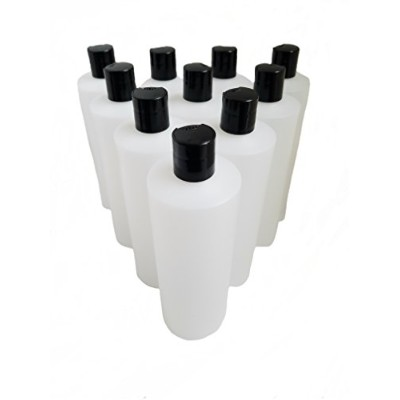 Kelkaa 240ml HDPE Durable Squeezable Plastic Bottles with Black Press Disc Top Cap Natural Clear...
