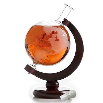 The Wine Savant Etched World Globe Decanter with Antique Ship (Mahogany Stained Wood) by The Wine...