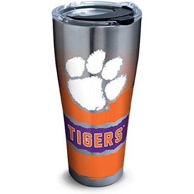 Tervis 1267966Clemson Tigers Knockoutステンレススチールタンブラーwith Clear andブラックハンマー蓋30oz、シルバー