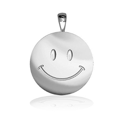 Medium Happy、Smiley Face Charm In Sterling Silver