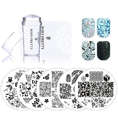 5 Pcs Spring Series Nail Stamping Plates Set with Clear Jelly Stamper Scrapper Flower Leaf Nail Art...