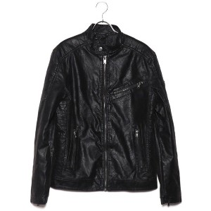 【SALE 50%OFF】ゲス GUESS ECO-LEATHER MOTORCYCLE JACKET (JET BLACK)