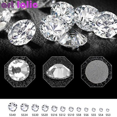 3D Pure White Nail Rhinestones 1440pcs SS3-SS12 Flatback Crystal for Nail Art Decor Shoes And...