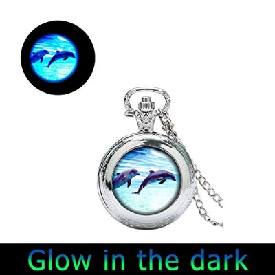 glowlala ® Glowing Dolphin時計ペンダントドルフィン腕時計ネックレスグローin theダークDolphin Glowing WatchジュエリーNature...