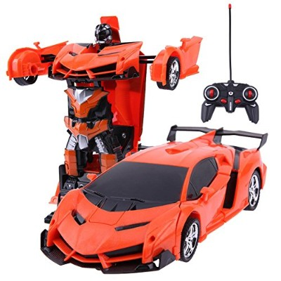 2 in 1 ワイヤレス RC リモートコントロール カーモデル 変形ロボット 子供用 おもちゃ ギフト