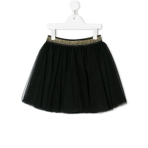 Young Versace Greek key waistband tulle skirt - ブラック