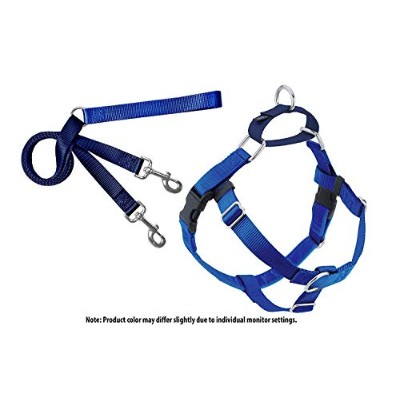 Freedom No Pull Velvet Lined Dog Harness and Leash Training Package Royal Blue XL by 2 Hounds