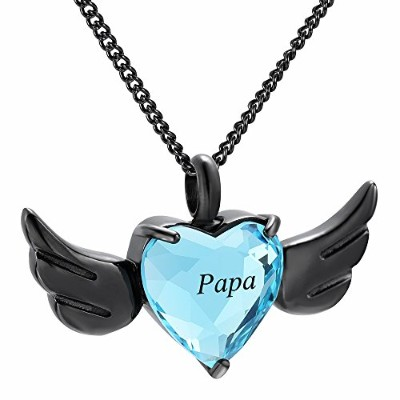 yinplsmemory Papa Carved Angel Wings Heart灰ネックレスUrnペンダント記念品ジュエリー
