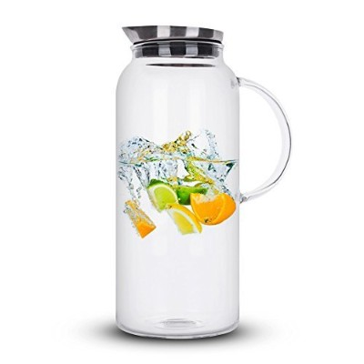 2010mls Glass Pitcher with Lid, Hot/Cold Water, Juice Jar and Iced Tea Pitcher