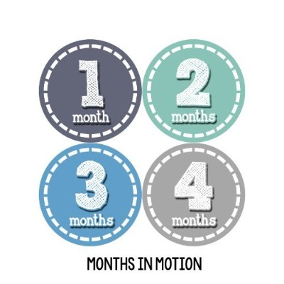 Months in Motion 103 Monthly Baby Stickers Baby Boy Milestone Age Sticker Photo by Months In Motion