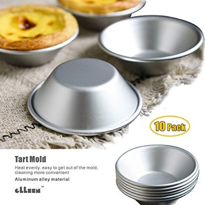 """Mini Pie Pans, Cake Cookie Mould,Set of 10 Anodized Aluminium Pudding Mould Baking Tool,Size 2.87""""0..."""