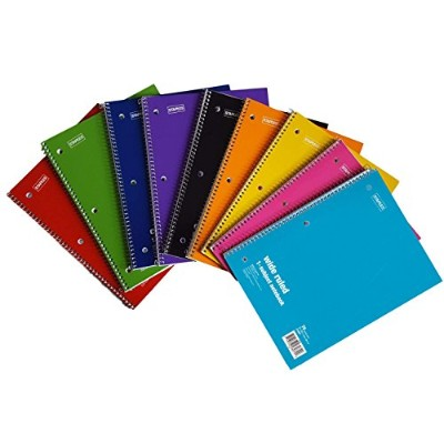 (6 Pack) - Staples Spiral Notebook 1-subject, 70-count, Wide Ruled, Assorted Colours, 6 Pack