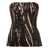 Halpern sequinned bustier top - ブラック
