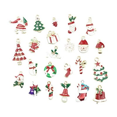 TINKSKY 23Pcs Pop Christmas Pendant Decorative DIY Ornaments for Necklace Charms Jewelry Making...