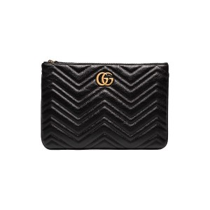 Gucci black chevron quilted leather GG clutch - ブラック