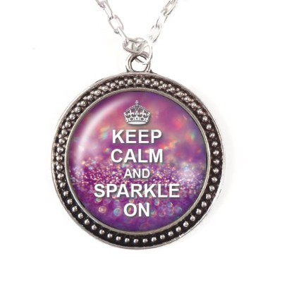 Keep Calm and Sparkle On–ドーム型ガラスネックレス、シルバーペンダント