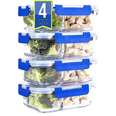 [Premium 4 Pack] 2 Compartment Glass Meal Prep Containers 8-Piece Set with Snap Locking Lid, BPA...
