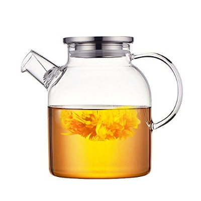 (1.6L) - Ceramic Story Glass Water Pitcher With Stainless Steel Lid,Large Water Pot, Glass Teapot,...