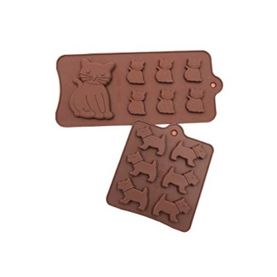Food Grade Silicone Cake Moulds,ICASA Silicone Dog and Cat Ice Cube Mould, Candy, Jelly, Biscuits,...