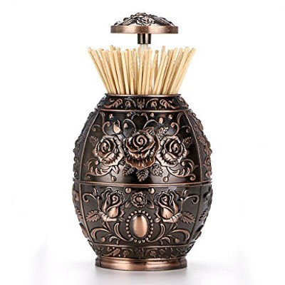(Red Copper) - Hipiwe Retro Automatic Toothpick Holder Protable Push Style Vintage Embossed...