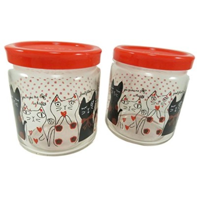 Cute Cat Glass Jar Bottle With Lid Cover Storage Container 410ml Clear Red Black Polka Dots (Set of...