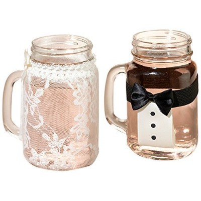 Lillian Rose Bride and Groom Vintage Lace Tuxedo Glass Covers