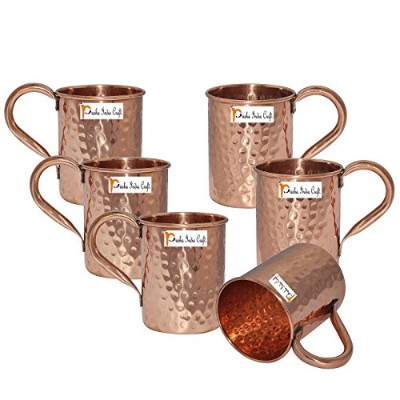Set of 6 – PrishaインドCraft ® Copper Mug for Moscowミュール500 ml / 16.90 Oz – 100 % Pure Copper –...