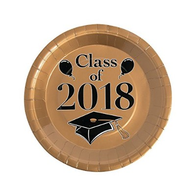 Gold Class of 2018 Grad Party Dinner Paper Plates