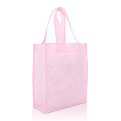 DALIX 10 Mini Shopping Totes Small Resuseable Bags for Women and Children in Pink- by DALIX