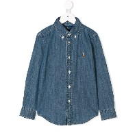 Ralph Lauren Kids embroidered logo denim shirt - ブルー