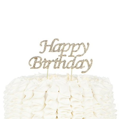 Happy Birthday Cake Topper Party Supplies Decoration Ideas (Gold)