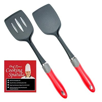 Latest 2-pc Kitchen Spatula Set - Lifetime Replacement Warranty - Multipurpose Solid And Slotted...