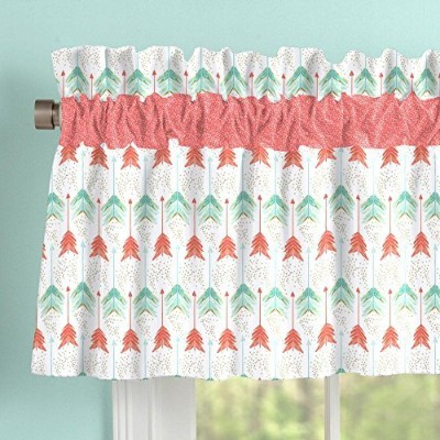 Carousel Designs Coral and Teal Arrow Window Valance Rod Pocket by Carousel Designs
