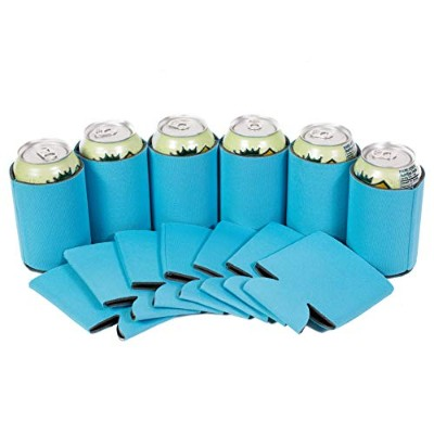 (25, Neon Blue) - QualityPerfection 25 Neon Blue Premium Blank Can Coolers Sleeves Soft Drink...