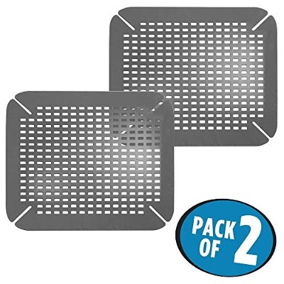 (Charcoal) - mDesign Adjustable Kitchen Sink Protector Mat - Pack of 2, Charcoal