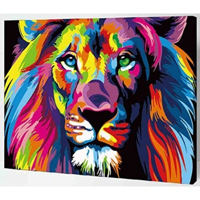 (Lion) - MailingArt Wooden Framed Paint By Number No Mixing / No Blending Canvas DIY Painting -...