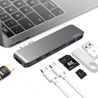"USB C ハブ 7in1 Type C adapter MacBook Pro Hub 変換アダプタ 2016/2017 13""/15"" Thunderbolt 3 充電ポート 4K HDMI..."