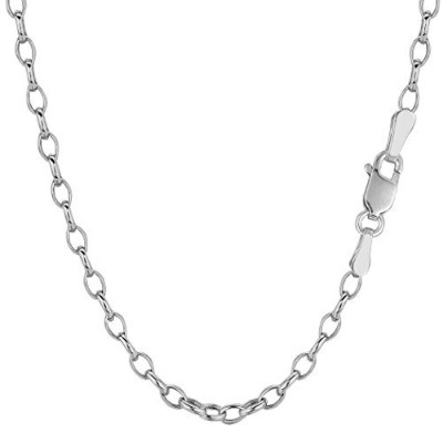 """14k White Gold Oval Rolo Link Chain Necklace, 3.2mm, 18"""""""