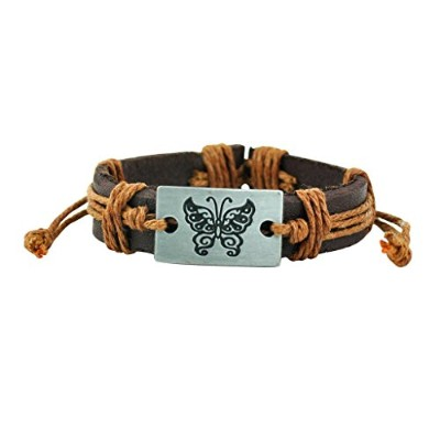 """Alpha Man """" Take Life簡単、Fly Like a Butterfly tan-ブラウンスレッドWoven Fauxレザーブレスレット"""