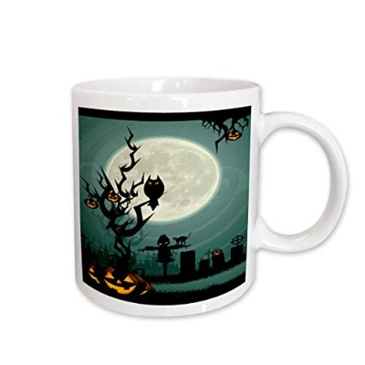 (330ml) - 3dRose Scary Halloween Scene with Pumpkin and Haunted Tree Under Big White Moon, Ceramic...