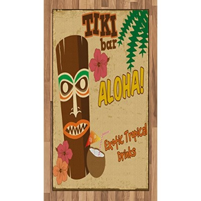 Tikiバーエリアラグby Ambesonne、Polynesian Statue with Tropical DrinkレトロTypography and Flora古いAgedデザイン...