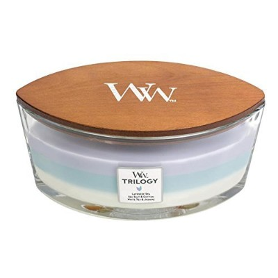 CALMING RETREAT WoodWick New Trilogy Collection HearthWick Flame Large Oval Jar 3-in-1 Scented...