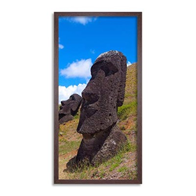 Moai Head Easter Island Monument Long Panel Framed Wall Art Print 島記念碑壁