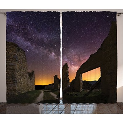 Wanderlust装飾カーテンby Ambesonne、アンティークRuins at Starry Night天体Road Roman Dated Aged Heritage Back...
